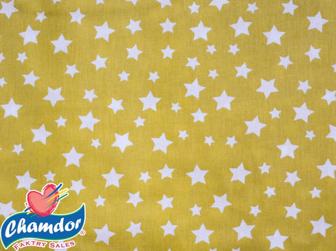 240cm WHITE STARS COTTON CURTAIN MUSTARD & WHITE