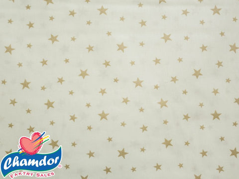 240cm STARS COTTON CURTAINING WHITE & BEIGE