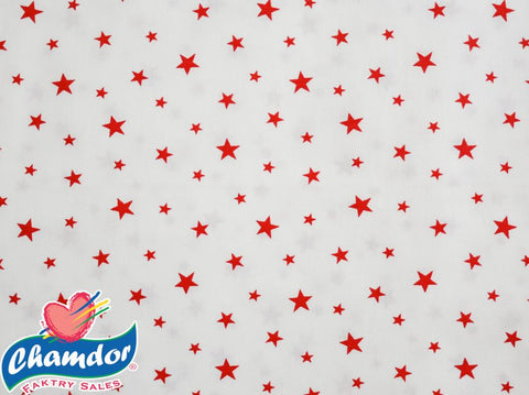 240cm STARS COTTON CURTAINING WHITE & RED