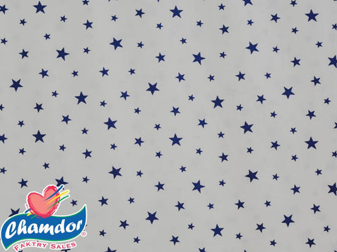 240cm STARS COTTON CURTAINING WHITE & NAVY