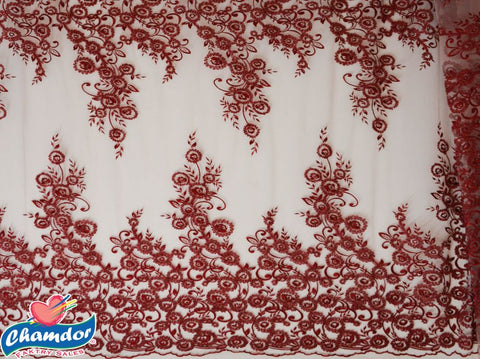 125cm EMBROIDED BRIDAL LACE RED/MAROON