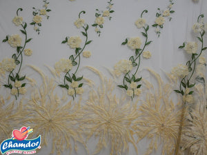 135cm EMBROIDED BRIDAL LACE