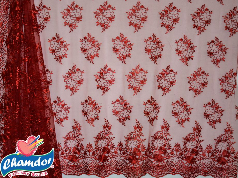 130cm EMBROIDED BRIDAL LACE RED