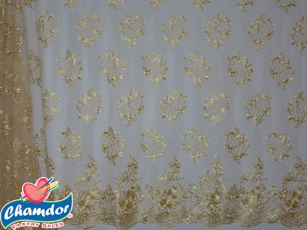 130cm EMBROIDED BRIDAL LACE GOLD BF297-5