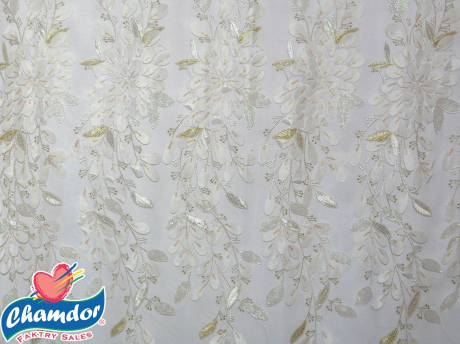 130cm EMBROIDED BRIDAL LACE WITH SEQUINS WHITE