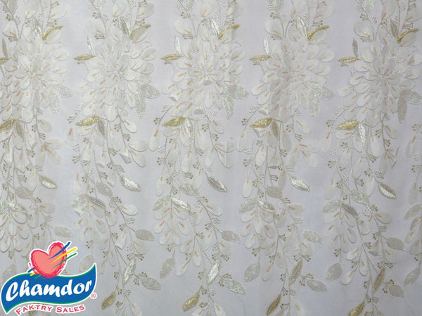 130cm EMBROIDED BRIDAL LACE WITH SEQUINS WHITE BF288-2