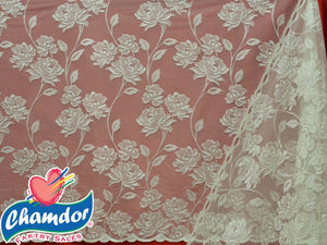 230CM JACQUARD LACE CURTAIN CREAM