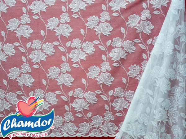90CM JACQUARD LACE CURTAIN WHITE LC037A-1