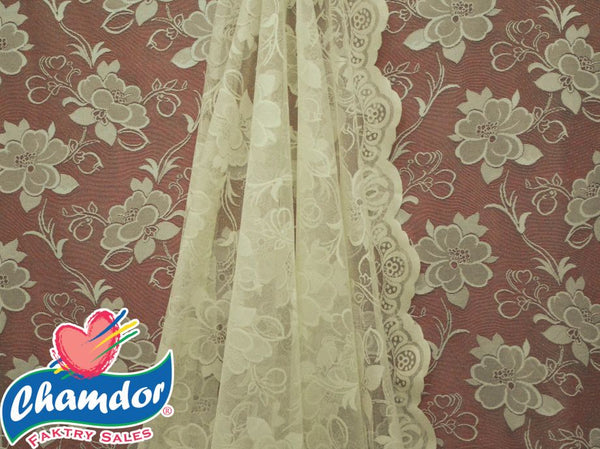 90CM JACQUARD LACE CURTAIN CREAM LC038A-2