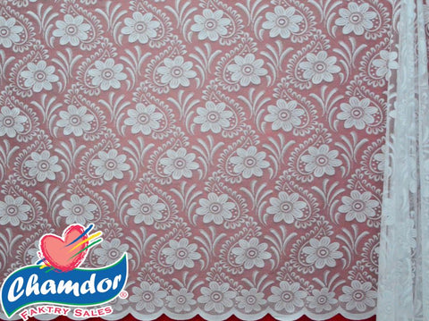 120CM JACQUARD LACE CURTAIN WHITE