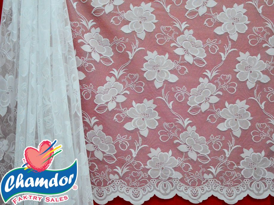90CM JACQUARD LACE CURTAIN WHITE