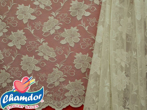 250CM JACQUARD LACE CURTAIN CREAM