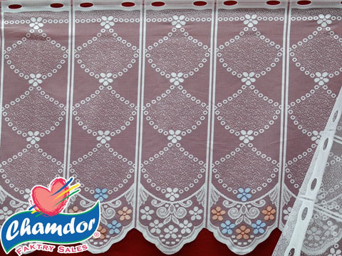 90CM PRINTED DUTCH LACE WHITE