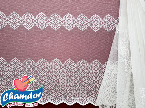230CM JACQUARD LACE CURTAIN WHITE
