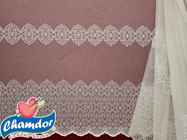 230CM JACQUARD LACE CURTAIN CREAM LC114B-2