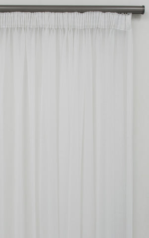 500x250cm PLAIN CORNELLY VOILE CURTAIN WHITE