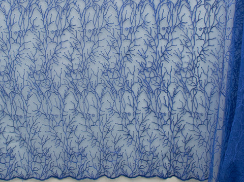130cm NEW FANCY EMBROIDERED TULLE BLUE