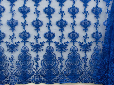 130cm FRENCH EMBROIDERED  TULLE BLUE