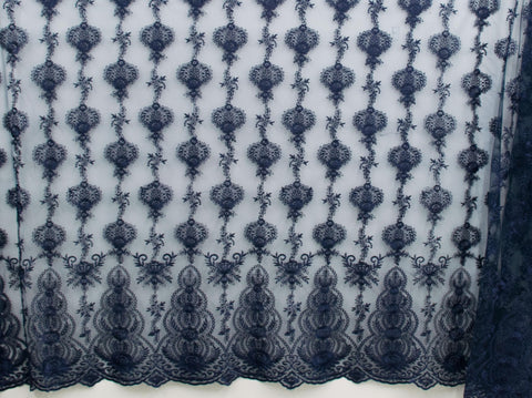130cm FRENCH EMBROIDERED  TULLE NAVY