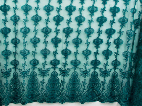 130cm FRENCH EMBROIDERED  TULLE GREEN