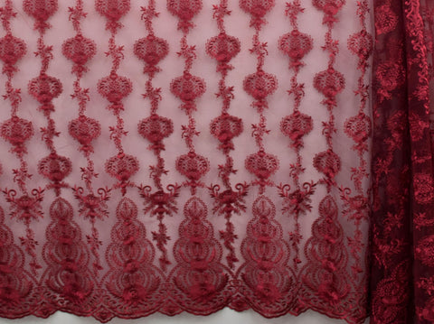 130cm FRENCH EMBROIDERED  TULLE BURGUNDY