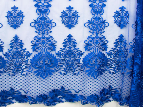 130cm SWISS HONEY COMB EMBROIDERED TULLE BLUE