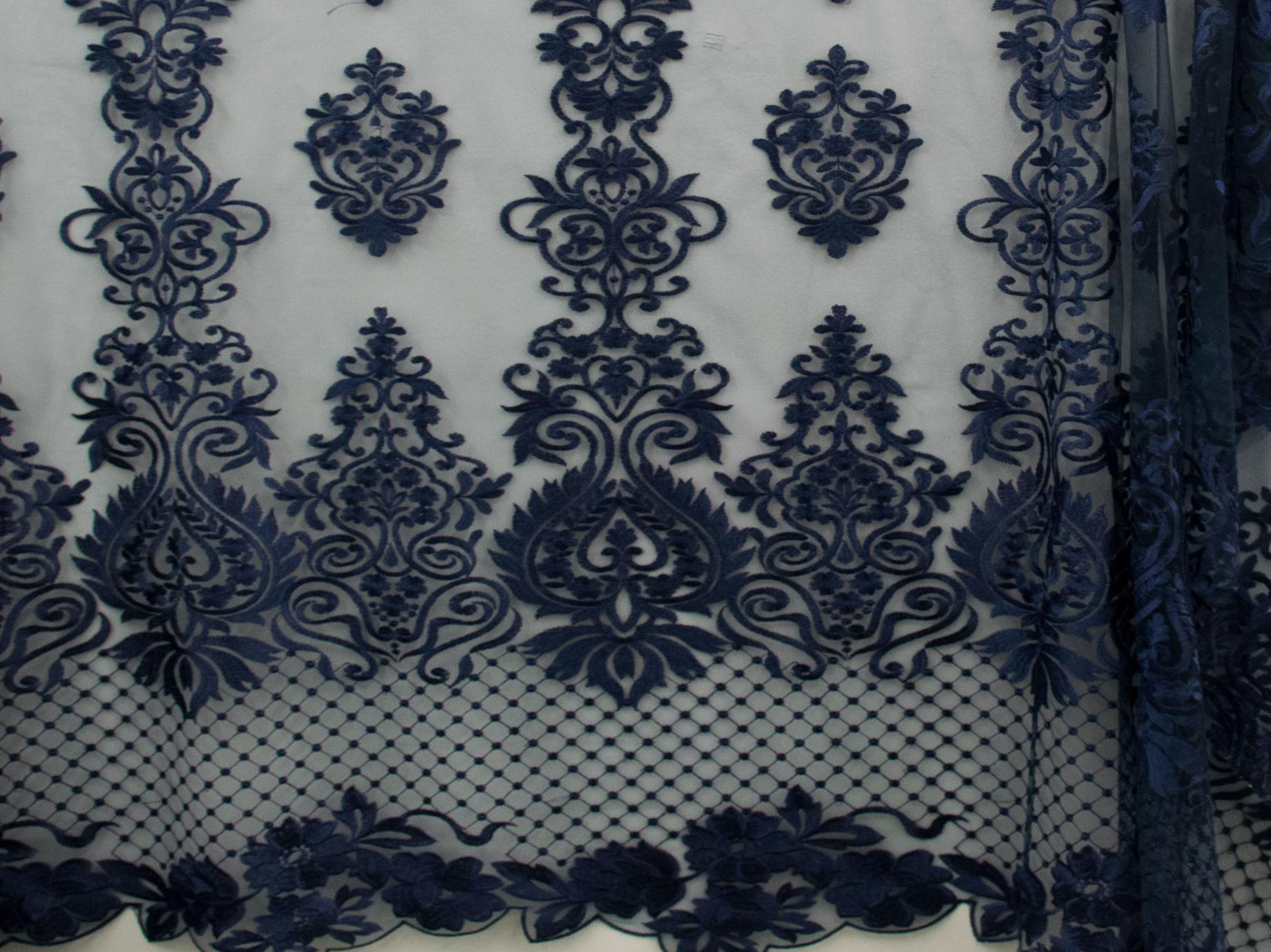130cm SWISS HONEY COMB EMBROIDERED TULLE NAVY