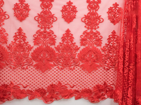 130cm SWISS HONEY COMB EMBROIDERED TULLE RED