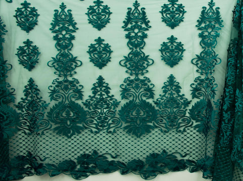 130cm SWISS HONEY COMB EMBROIDERED TULLE GREEN