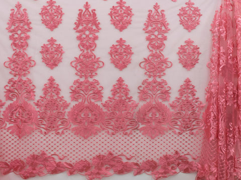 130cm SWISS HONEY COMB EMBROIDERED TULLE PINK