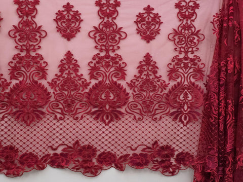 130cm SWISS HONEY COMB EMBROIDERED TULLE BURGUNDY