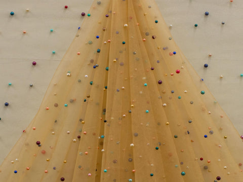 145cm OCEAN MULTIPEARL SHINEY TULLE