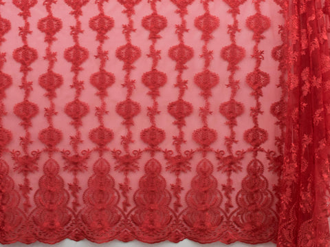 130cm FRENCH EMBROIDERED  TULLE RED