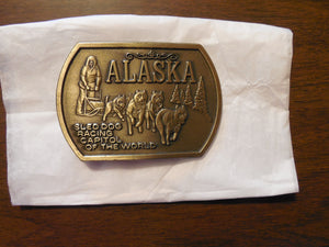 Alaska Sled Dog Racing Capitol of the World Brass Men's Belt Buckle