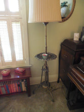 Load image into Gallery viewer, Brass Standing Lamp with tray and shade