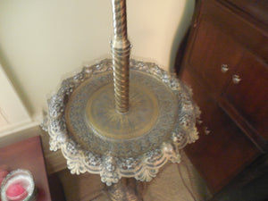 Brass Standing Lamp with tray and shade