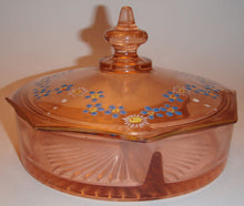 Load image into Gallery viewer, Depression Glass Pink Octagonal Candy Dish with Lid