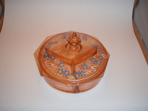 Depression Glass Pink Octagonal Candy Dish with Lid