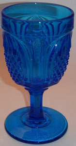 Fenton Pineapple Blue Water Goblet