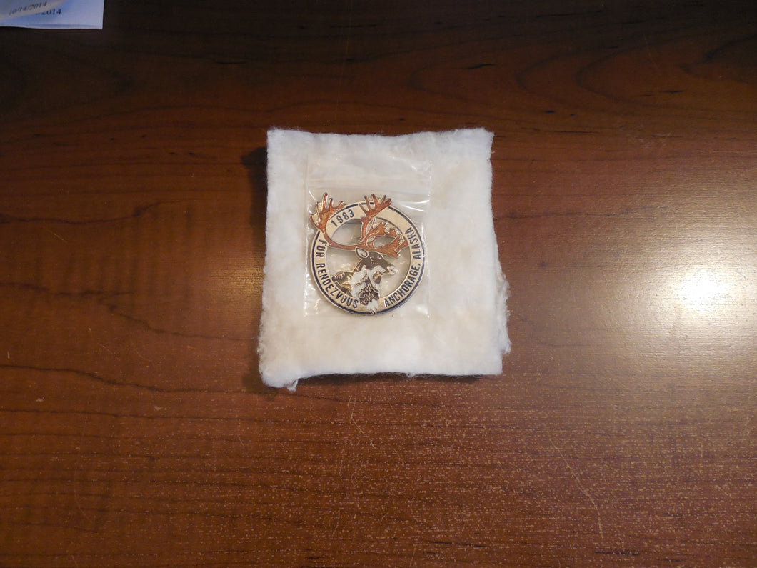 Fur Rendezvous Enamel Anchorage, Alaska 1983 Caribou Collector Pin
