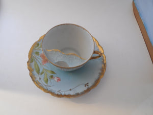 Mustache Cup and Matching Saucer Royal Saxe