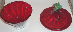 Red or Ruby Glass Candy Dish on Pedestal with Lid