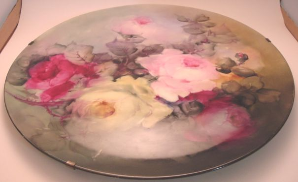 T & V Limoges France Handpainted Large Porcelain Plate