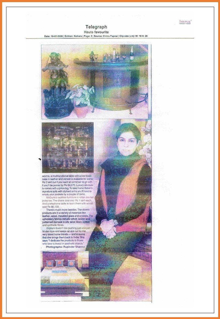 Interior Designer Angie Kripalani | Article on Telegraph