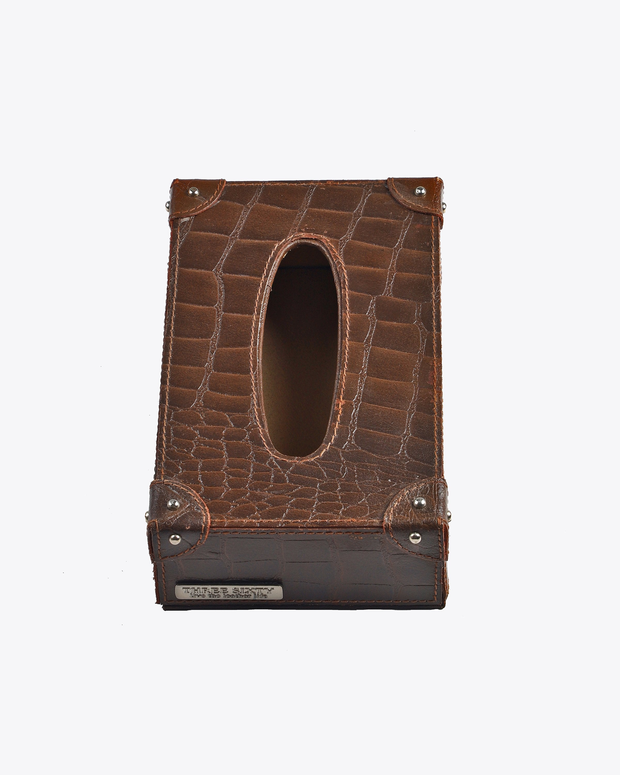 Antony Brown Leather Tissue Box ANGIE KRIPALANI DESIGN-ANGIE HOMES- ANGIES INDIA