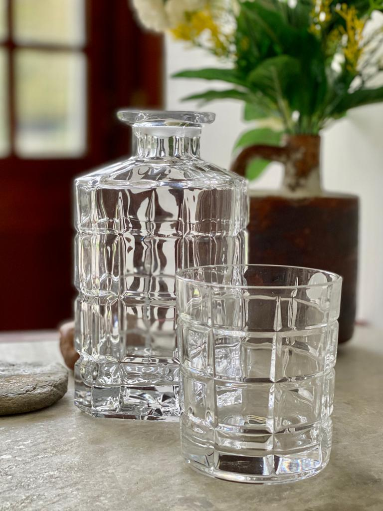 """transparent cube whiskey glass with modern Decanter Angie Homes"""