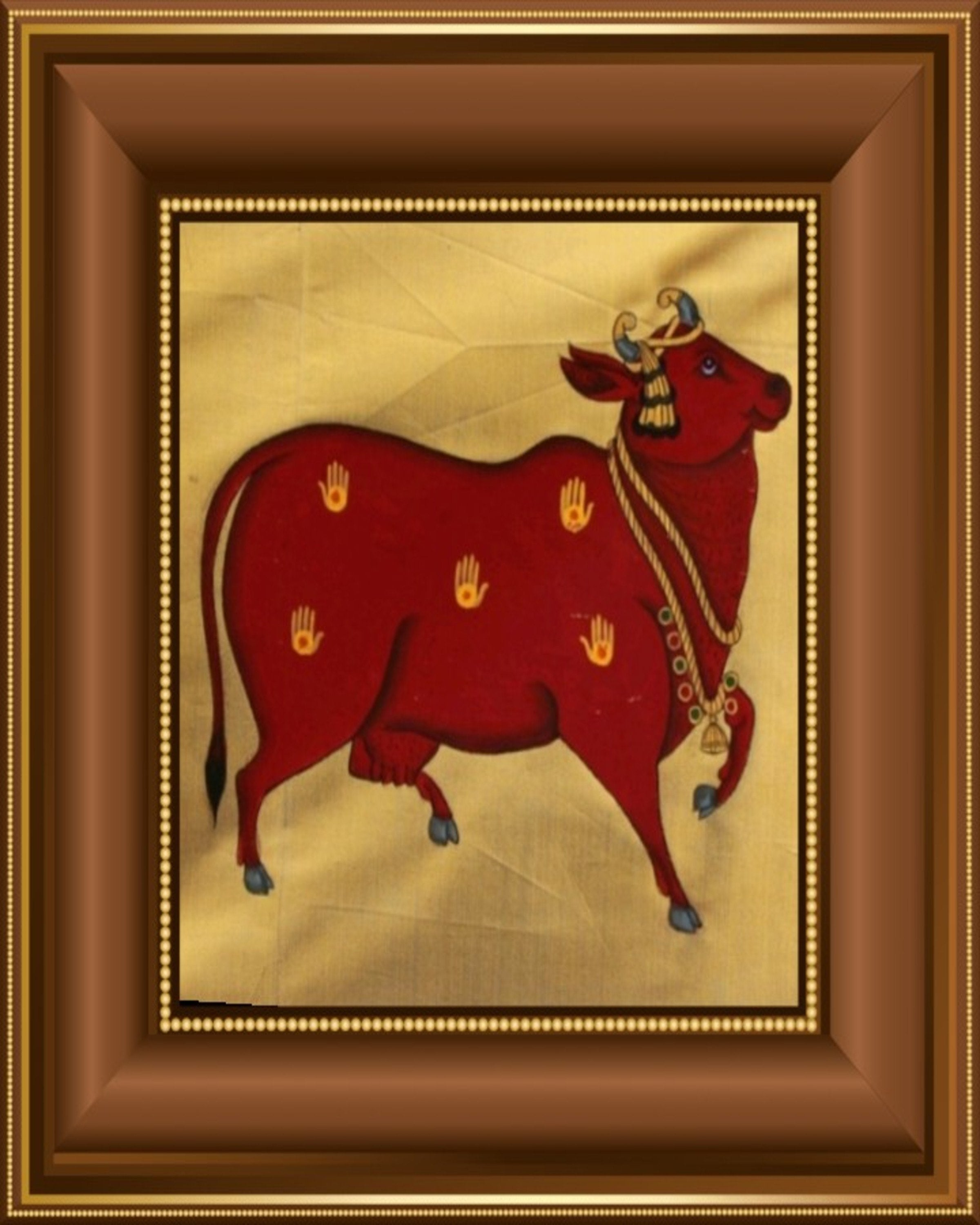 Beast Cow Gold & Wine Painting ANGIE KRIPALANI DESIGN- ANGIES INDIA