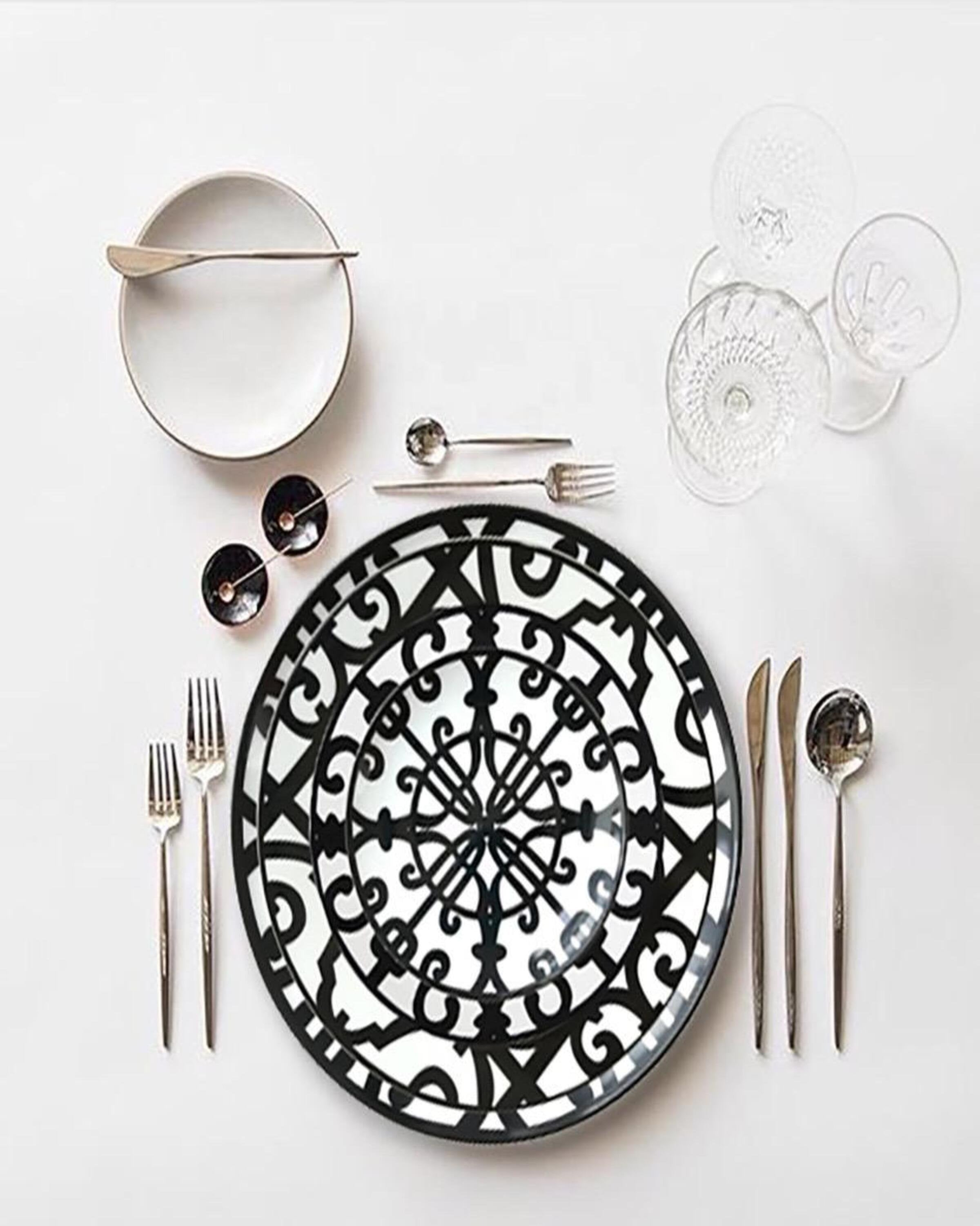 Bibe Unique Black and White Dinner Set ANGIE KRIPALANI DESIGN - ANGIE HOMES- ANGIES INDIA