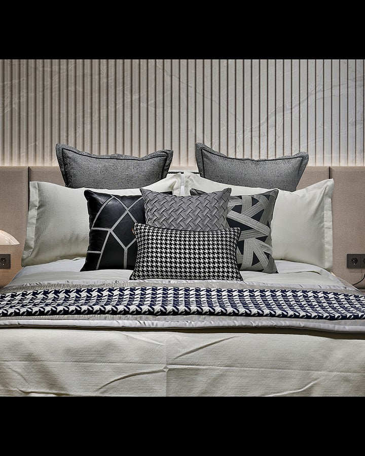 Luxury grey bed set with pillow | Angie Homes