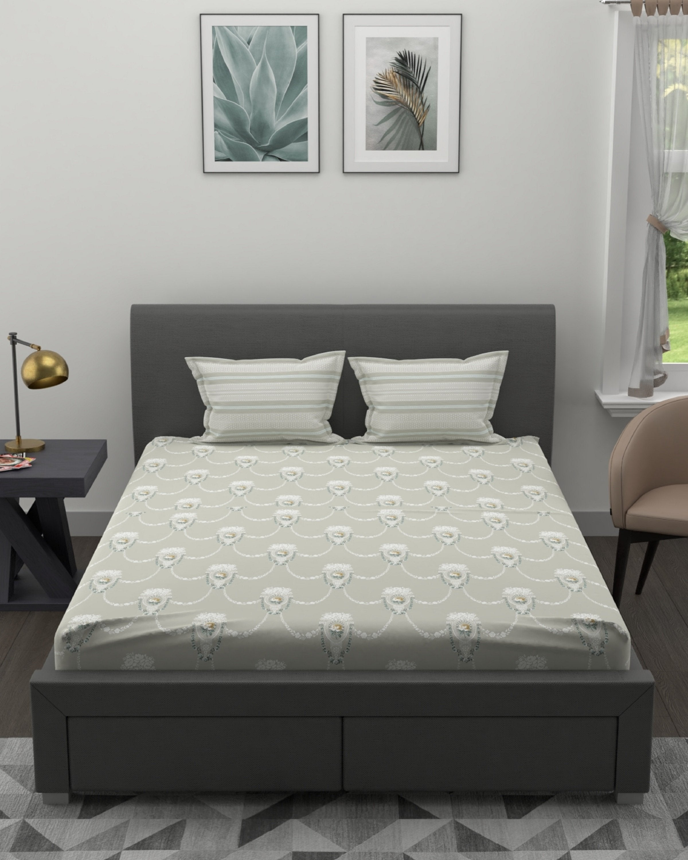 CELESTYNA EXCLUSIVE GREY BED SET-4 PCS- ANGIE HOMES ANGIE KRIPALANI DESIGN- ANGIE HOMES - ANGIES INDIA